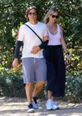 Gwyneth Paltrow wears a white tank top during stroll with husband Brad Falchuk in Los Angeles