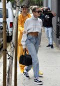 Hailey Bieber and Justin Bieber enjoy a quiet day celebrating Justin's 26th birthday at a spa in West Hollywood, California
