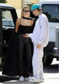 Hailey Bieber and Justin Bieber look happy and in love while shopping together in West Hollywood, California