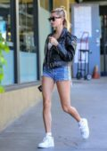 Hailey Bieber puts on a leggy display in denim shorts during a solo lunch outing in Hollywood, California