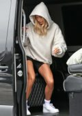 Hailey Bieber rocks a hoodie and bike shorts while out with Justin Bieber in Los Angeles