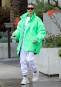 Hailey Bieber stands out in bright green jacket as she heads to Nine Zero One Salon in Los Angeles