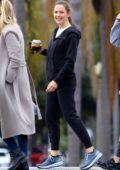 Jennifer Garner enjoys her morning coffee while chatting with friends in Santa Monica, California