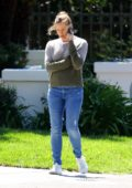 Jennifer Garner looks busy on her while stepping out of her house in Pacific Palisades, California