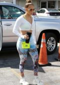 Jennifer Lopez rocks a pair of colorful leggings as she hits the gym in Miami, Florida