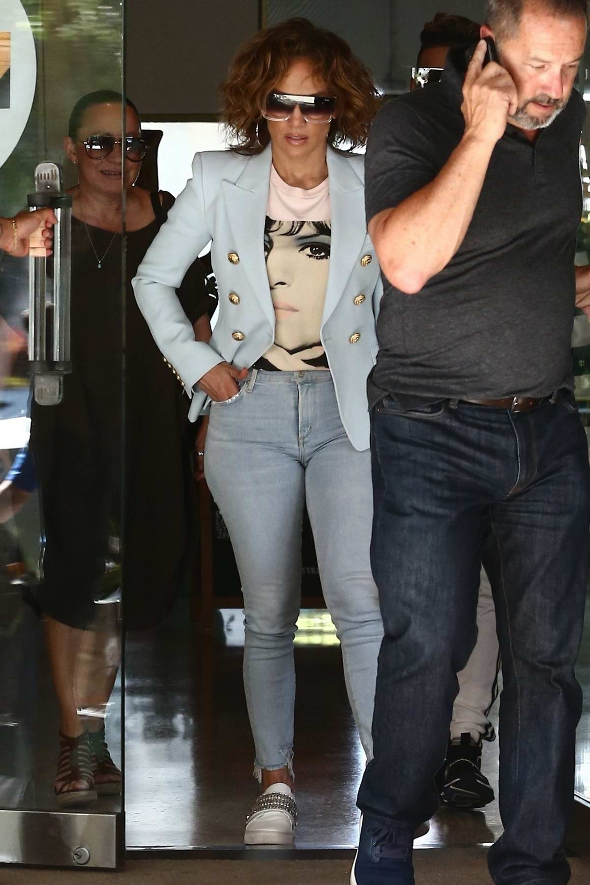 Jennifer Lopez spotted with her crew while attending a meeting in Miami, Florida
