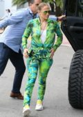 Jennifer Lopez stands out in 'Versace' during a family brunch at SoHo beach house in Miami Beach, Florida
