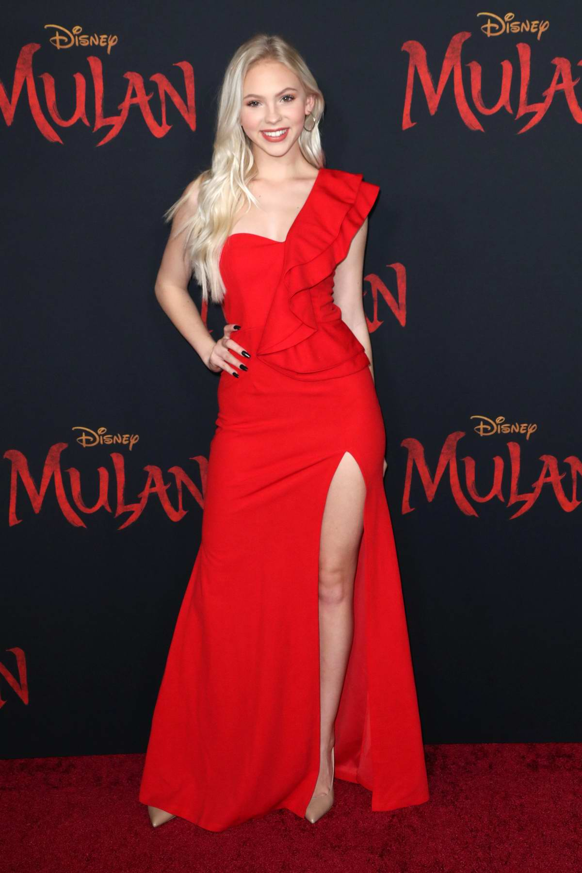 Jordyn Jones attends the Premiere of Disney's 'Mulan' at Dolby Theatre in Los Angeles