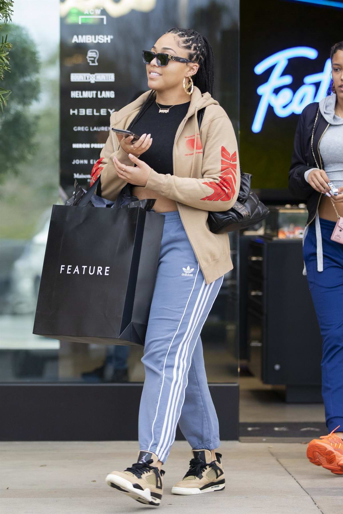 Jordyn Woods steps out for some retail therapy with a friend at the Feature store in Calabasas, California