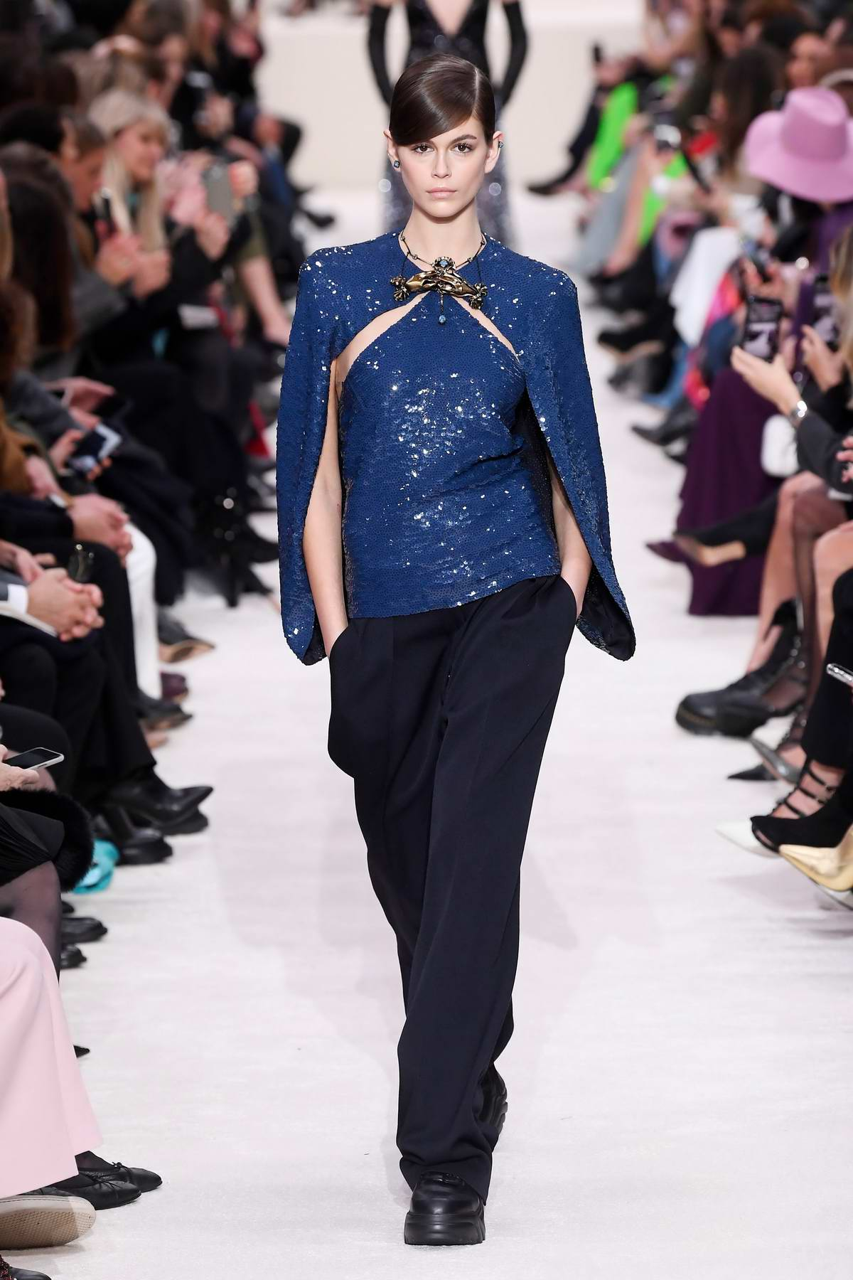 Kaia Gerber walks the runway at Valentino show, F/W 2020 during Paris Fashion Week in Paris, France