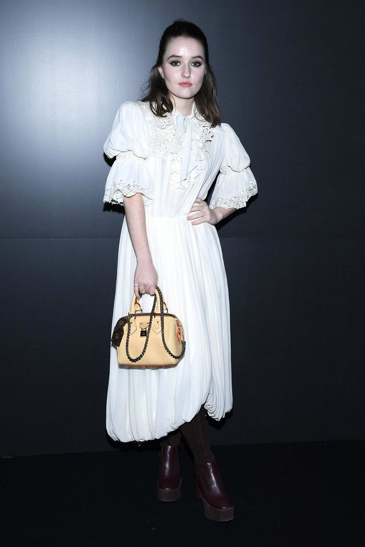 Kaitlyn Dever attends the Louis Vuitton fashion show, F/W 2020 during Paris Fashion Week in Paris, France