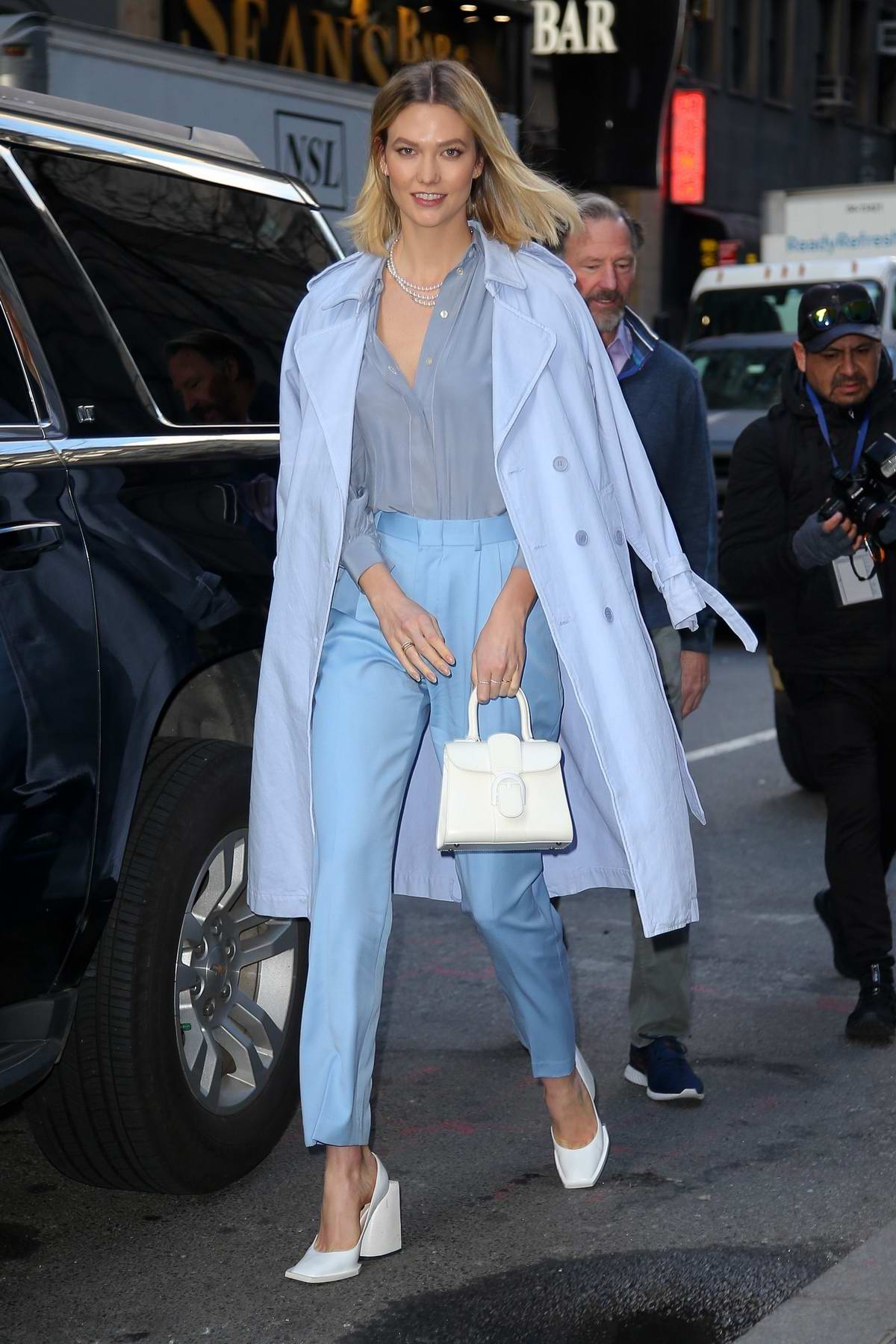 Karlie Kloss looks chic in pastel blue ensemble while visiting the 'Today' Show in New York City