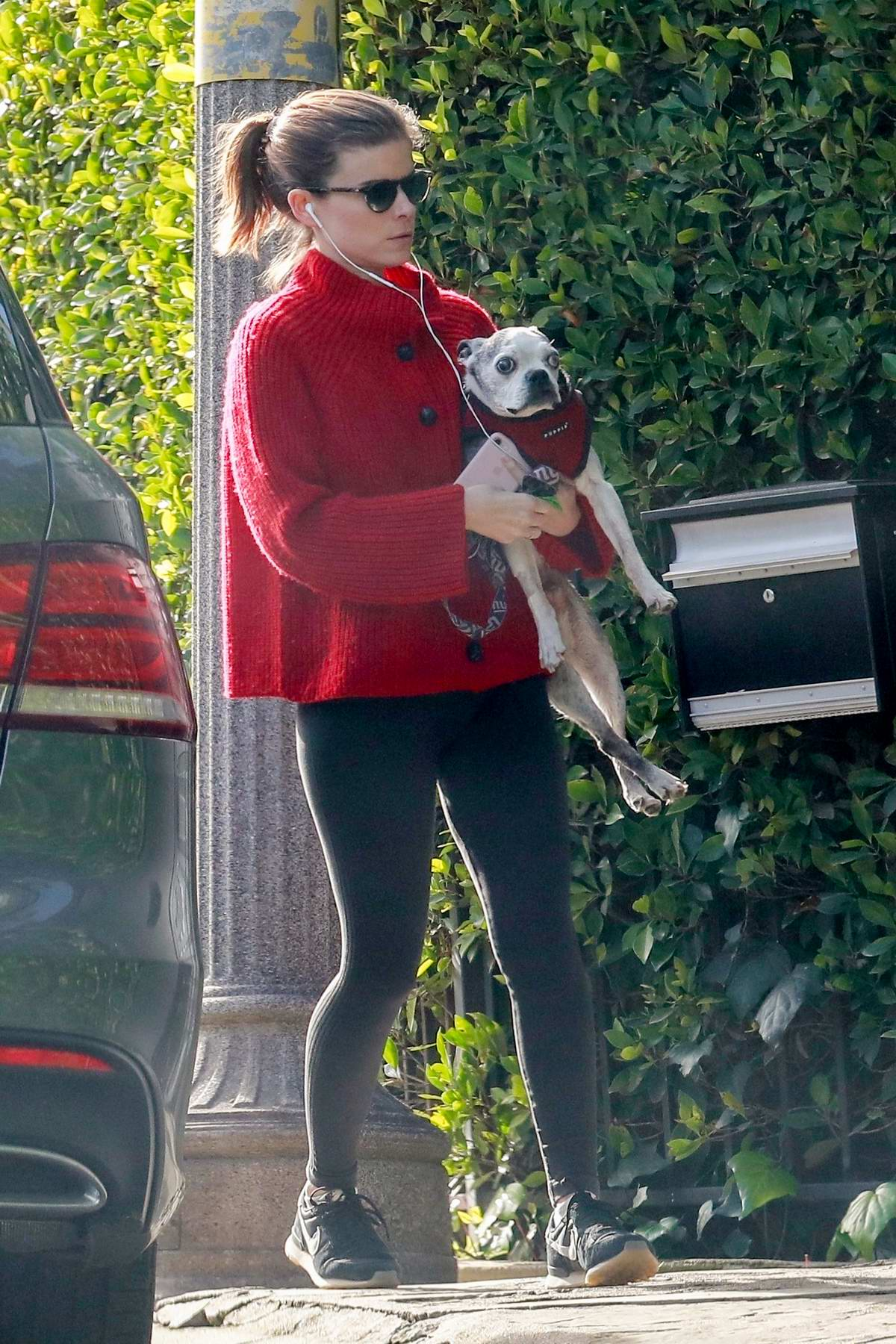 Kate Mara steps out for a stroll with her dog in Los Feliz, California