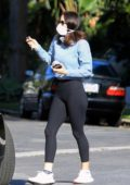 Katharine McPhee looks great in a blue top and black leggings as she steps out with David Foster in Los Angeles