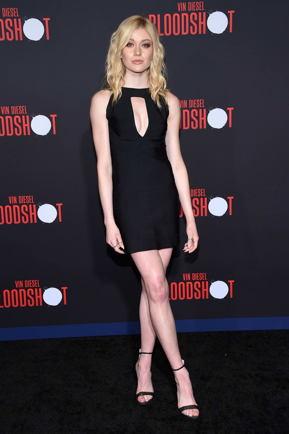 Katherine McNamara attends the Premiere of 'Bloodshot' at the Regency Village Theatre in Westwood, California