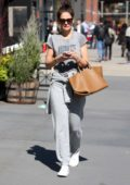 Katie Holmes keeps it casual in her grey sweatsuit as she steps out in New York City