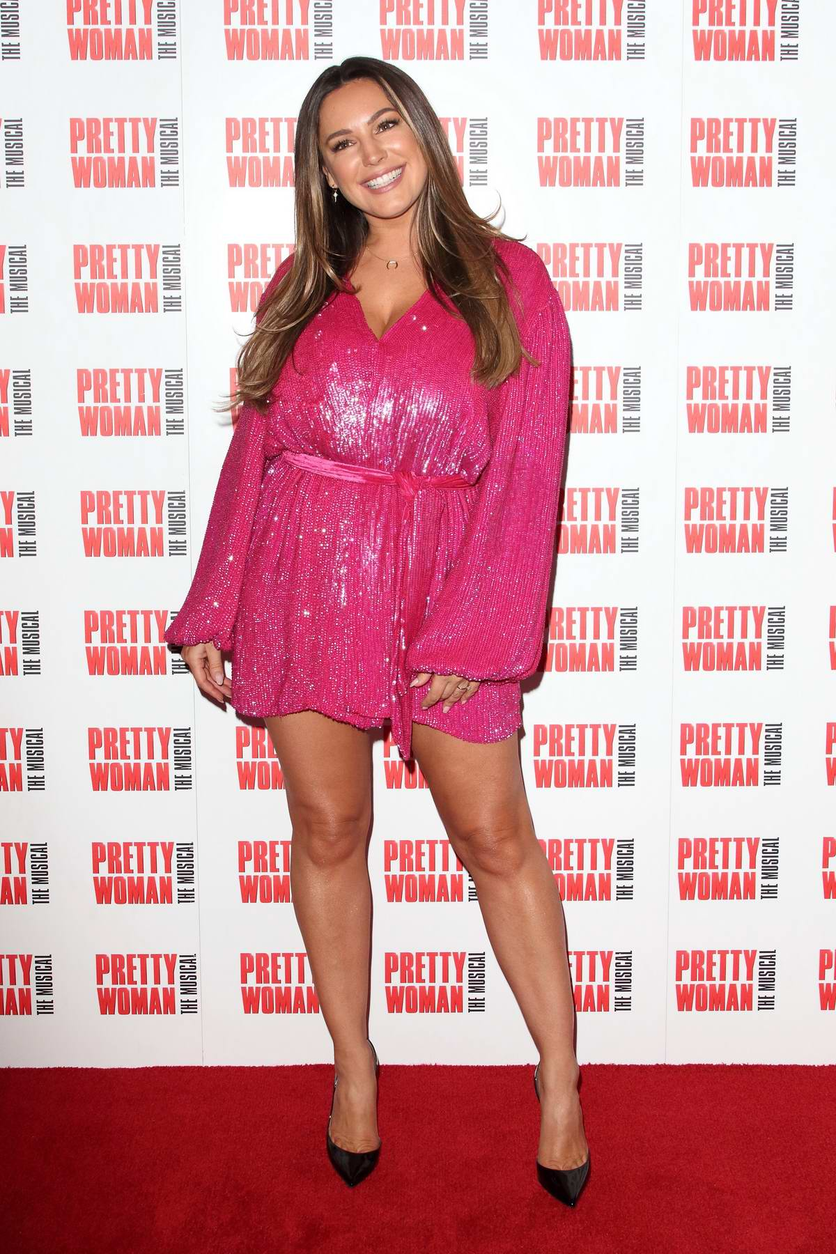 Kelly Brook attends the Pretty Woman, The Musical Press Night at the Piccadilly Theatre in London, UK