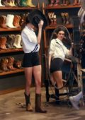 Kendall Jenner goes shopping for hats and boots at Boot Star in West Hollywood, California