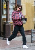 Kendall Jenner wears a red and blue plaid flannel while stopping by Alfred's in West Hollywood, California