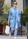 Keri Russell sports all denim ensemble as she stops by a bookstore while out in New York City