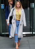Kimberley Walsh spotted in a gold top and jeans as she exits Radio 5 studio in London, UK