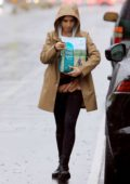 Lily Collins braves the rain as she steps out to pick up dog food in Los Angeles