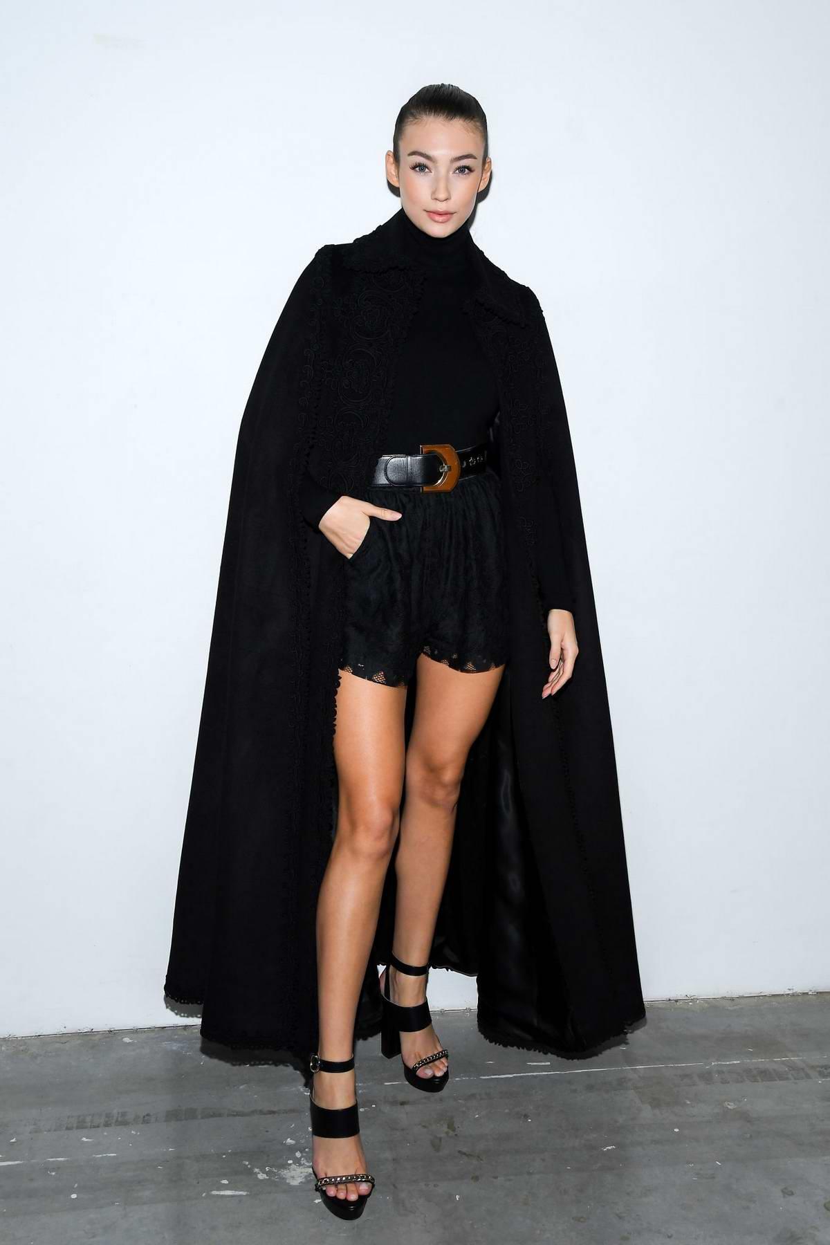Lorena Rae attends the Elie Saab fashion show, F/W 2020 during Paris Fashion Week in Paris, France