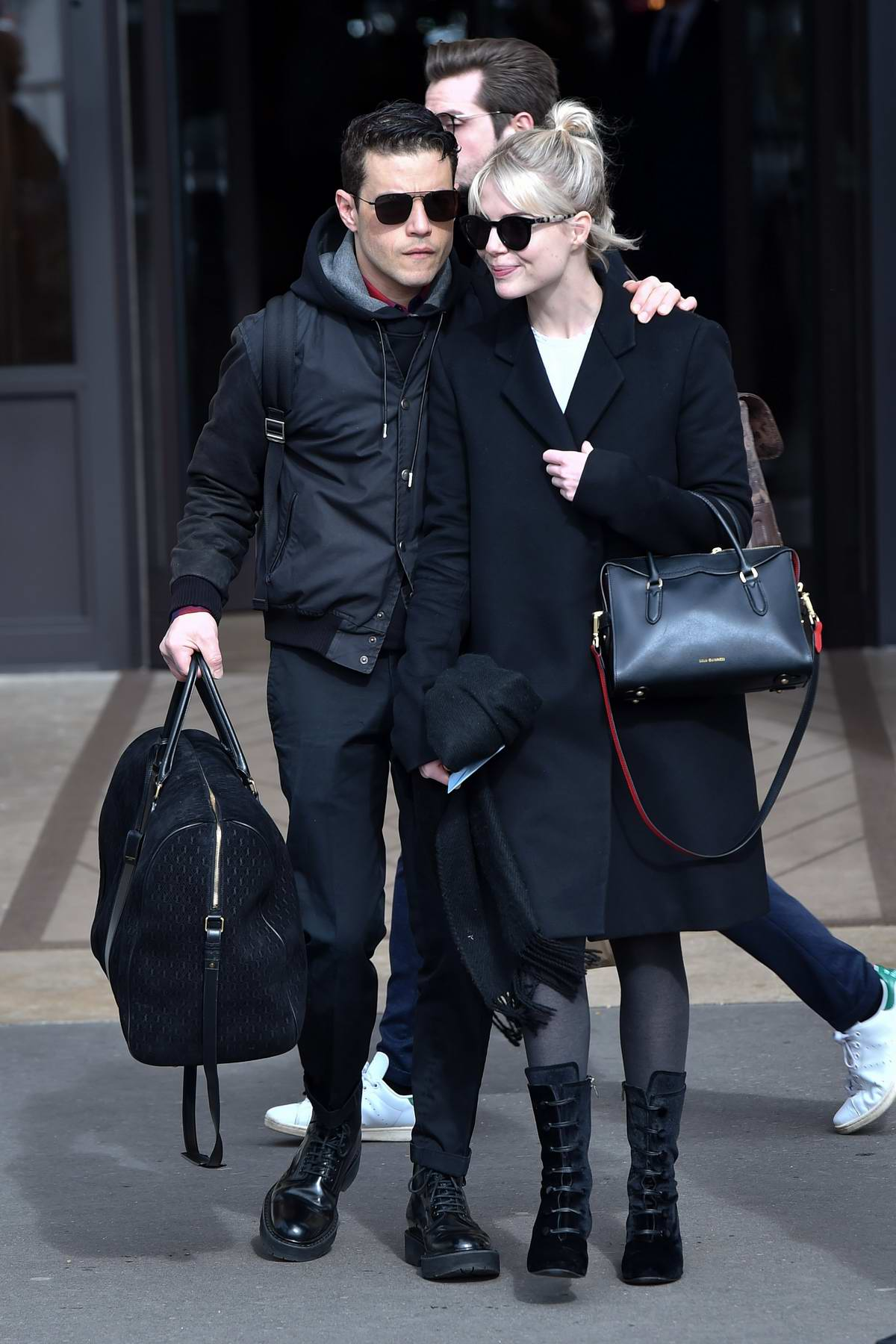 Lucy Boynton and Rami Malek seen leaving the Hôtel de Crillon in Paris, France