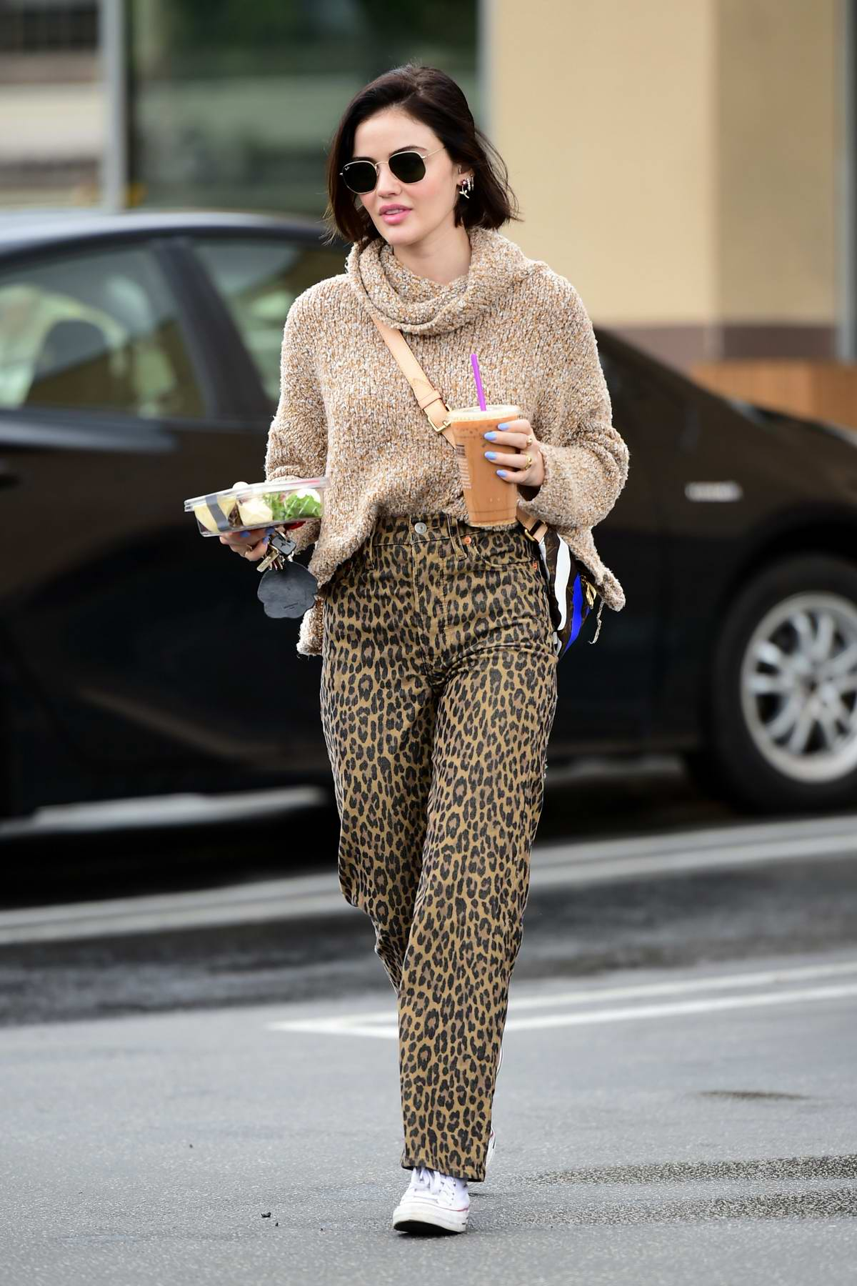Lucy Hale looks pretty in a knitted sweater and animal print pants while out for an iced coffee in Los Angeles