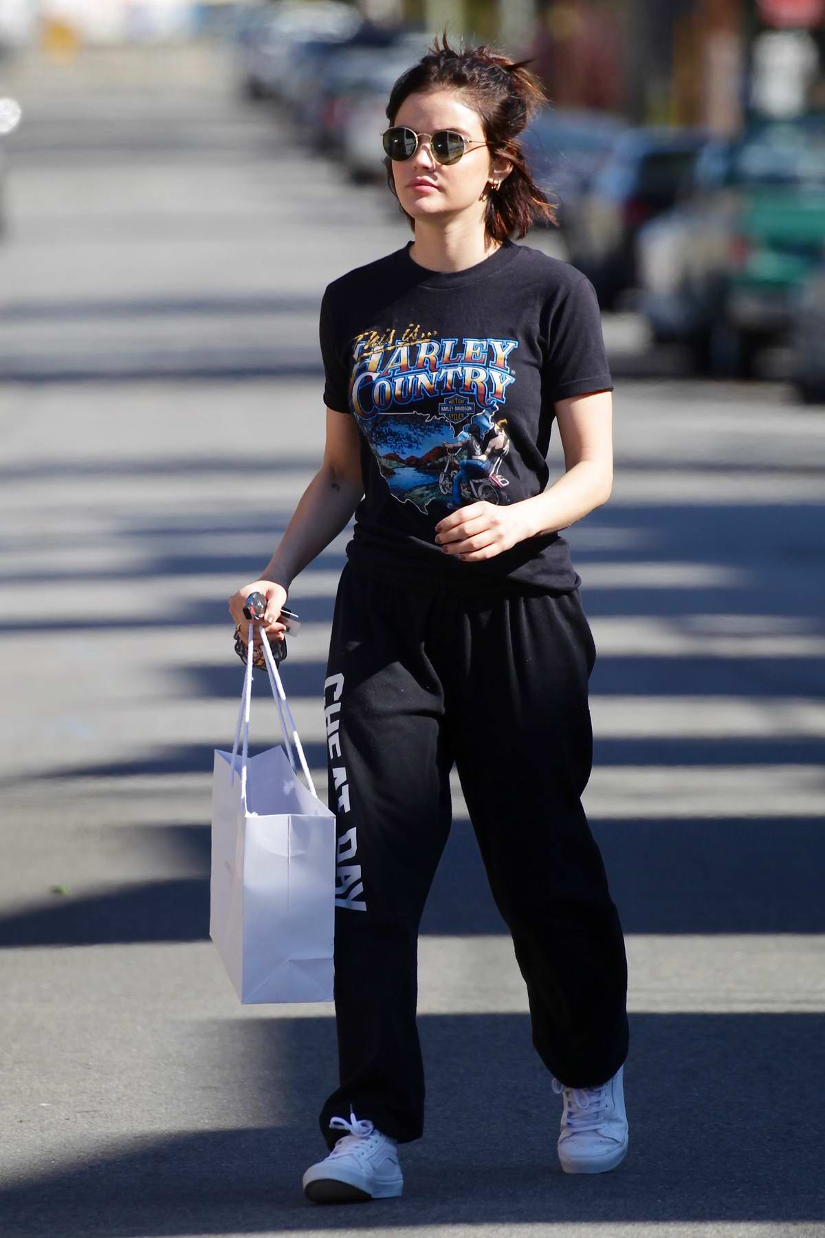 Lucy Hale steps out to grab a coffee and runs a few errands in Los Angeles