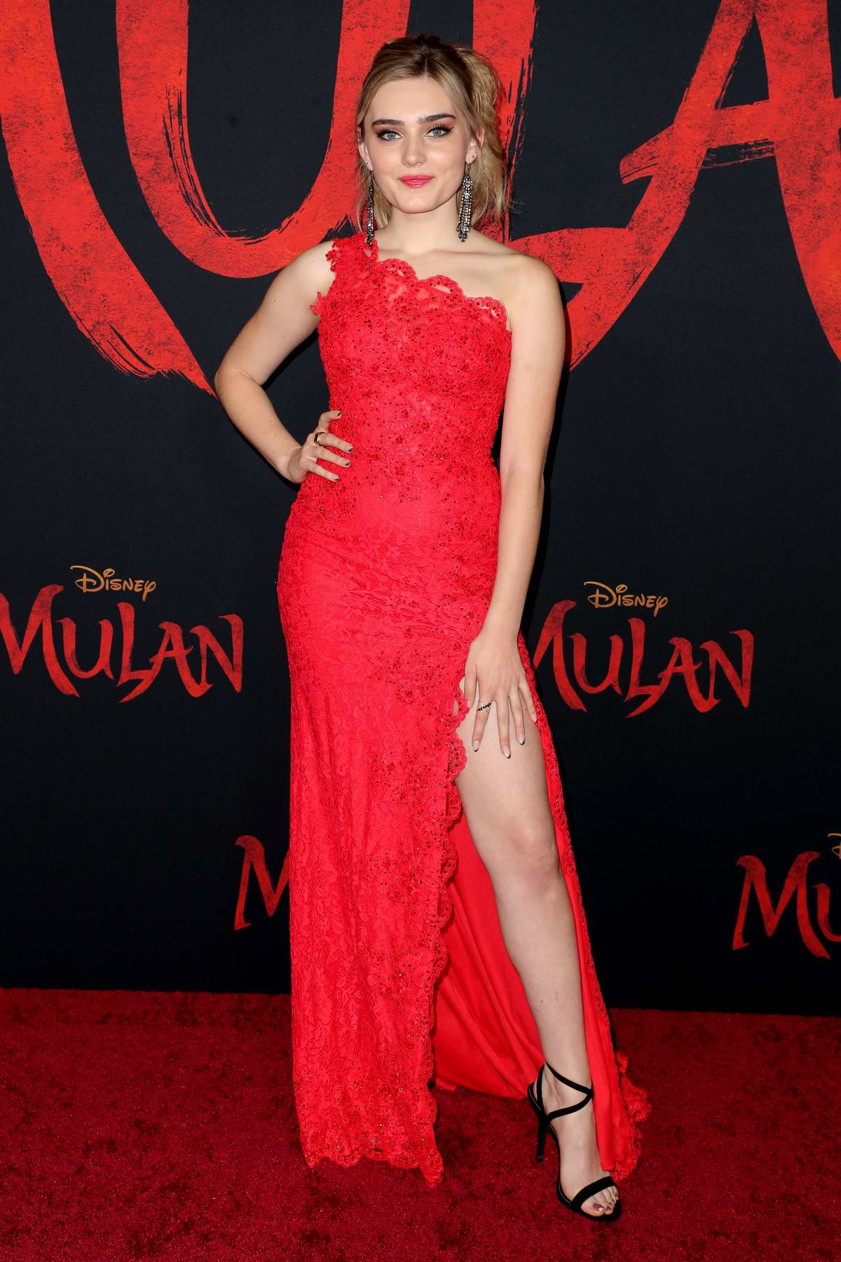 Meg Donnelly attends the Premiere of Disney's 'Mulan' at Dolby Theatre in Los Angeles