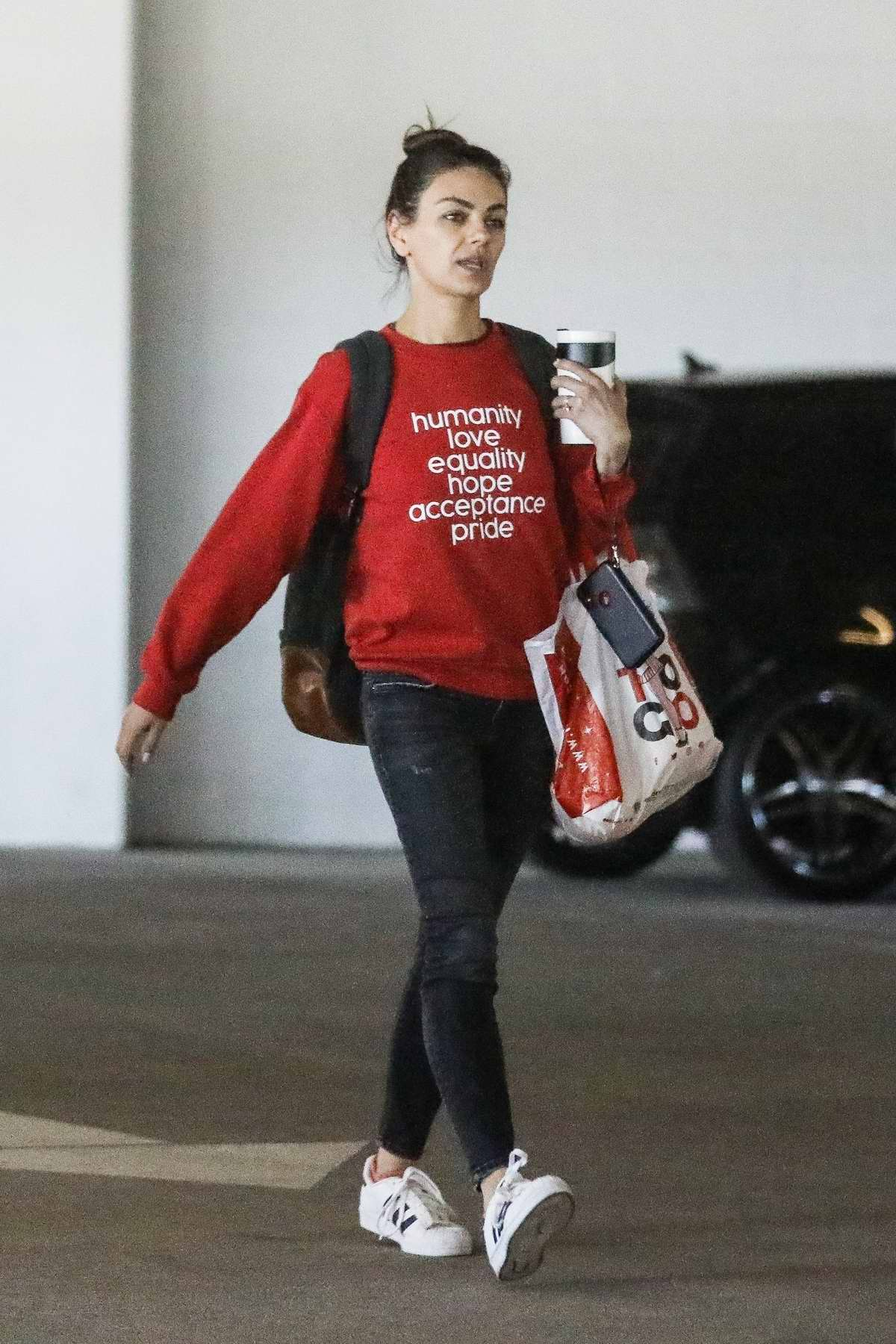Mila Kunis seen out shopping at Target in West Hollywood, California