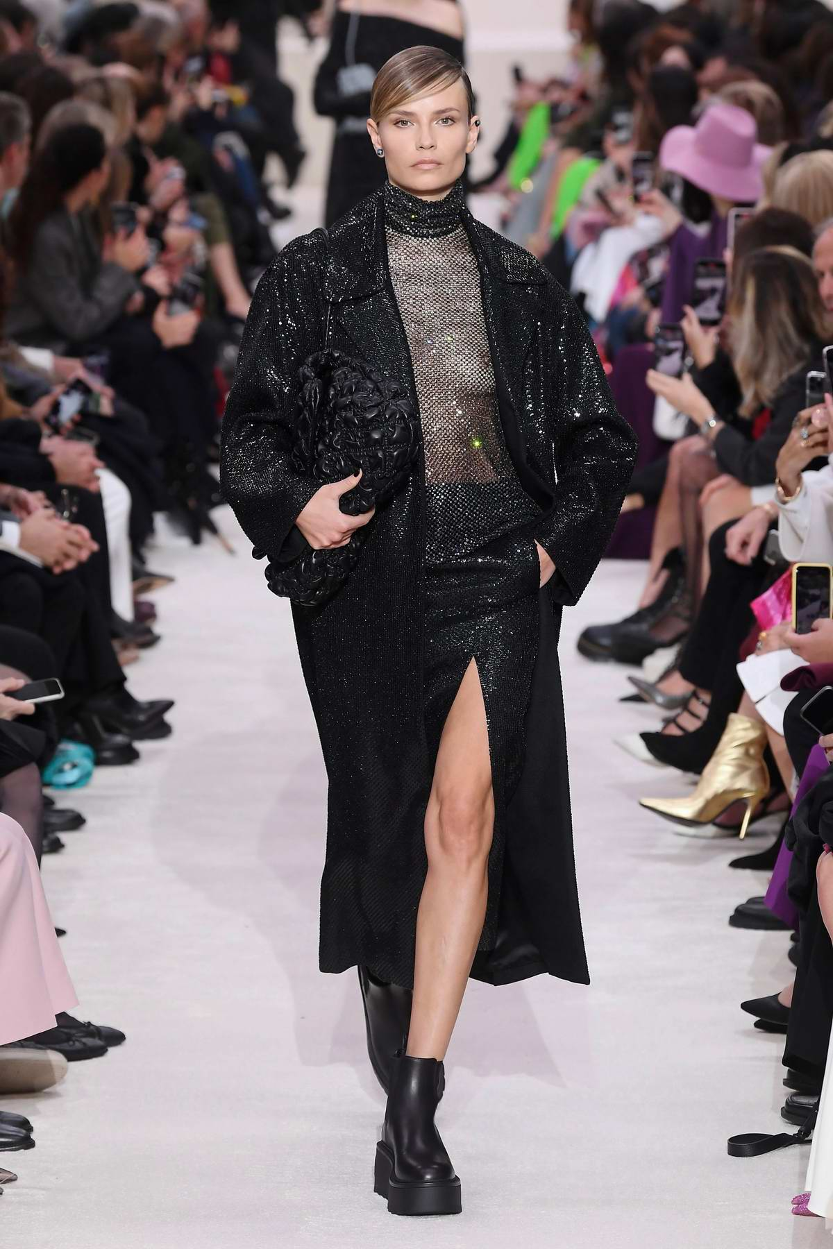 Natasha Poly walks the runway at Valentino show, F/W 2020 during Paris Fashion Week in Paris, France