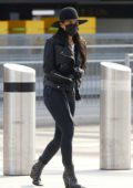 Nicole Scherzinger and Thom Evans seen arriving for a flight out of Heathrow Airport in London, UK