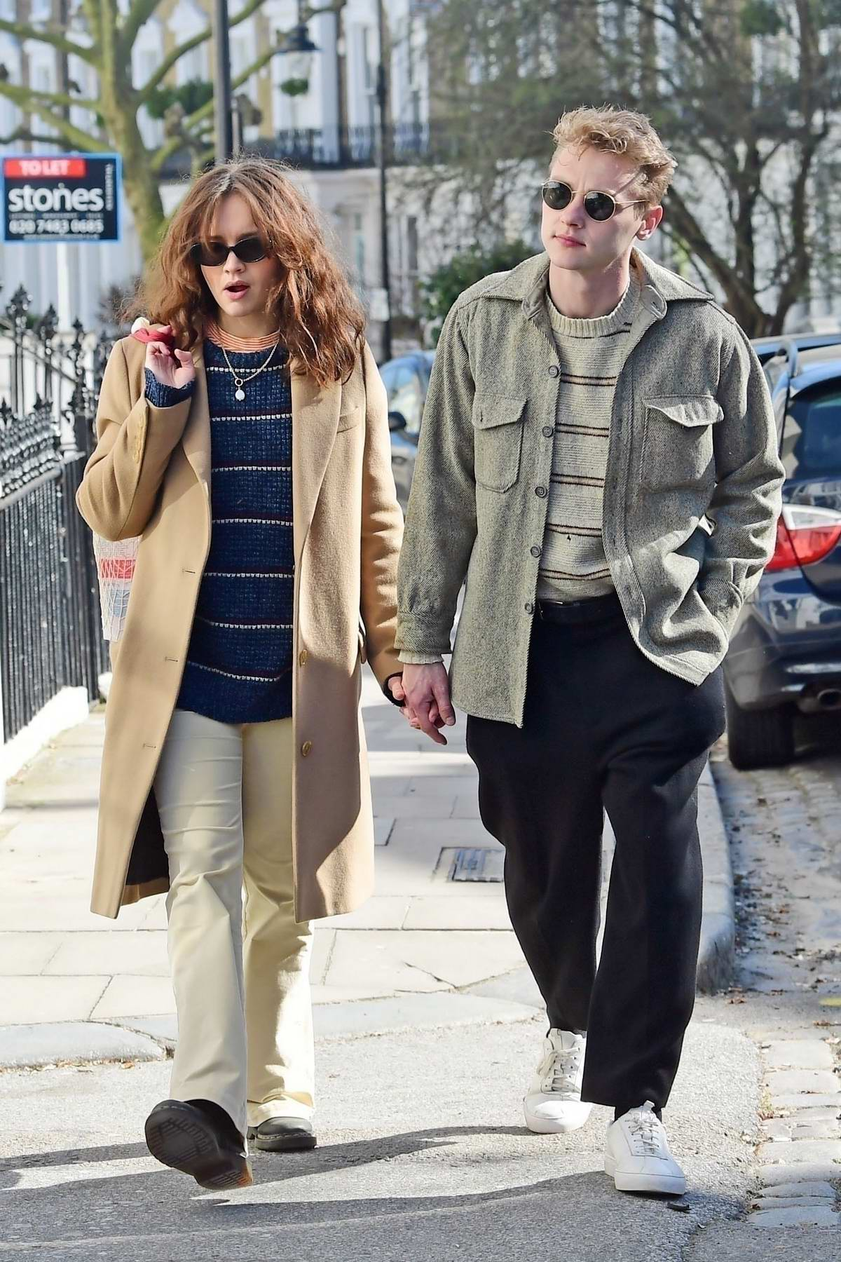 Olivia Cooke and boyfriend Ben Hardy go out for a romantic stroll in London, UK