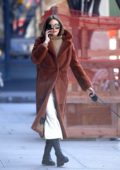 Olivia Palermo puts on a stylish display while walking her dog in New York City
