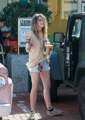 Paris Jackson wears a casual tee and denim short as she stops for some coffee at Starbucks in Malibu, California