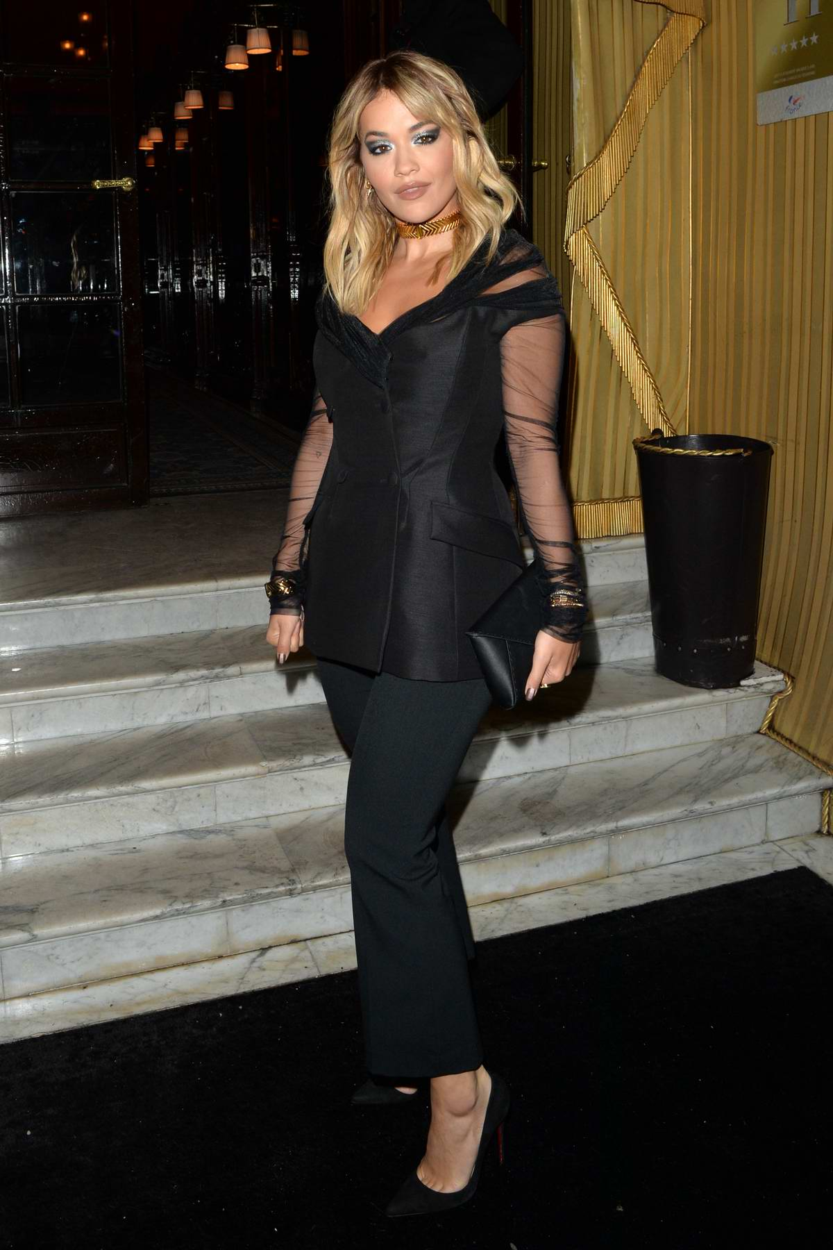 Rita Ora looks great in all-black as she steps out for dinner in Paris, France