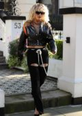 Rita Ora shows off her unique sense of style as she heads to BBC Radio One in London, UK