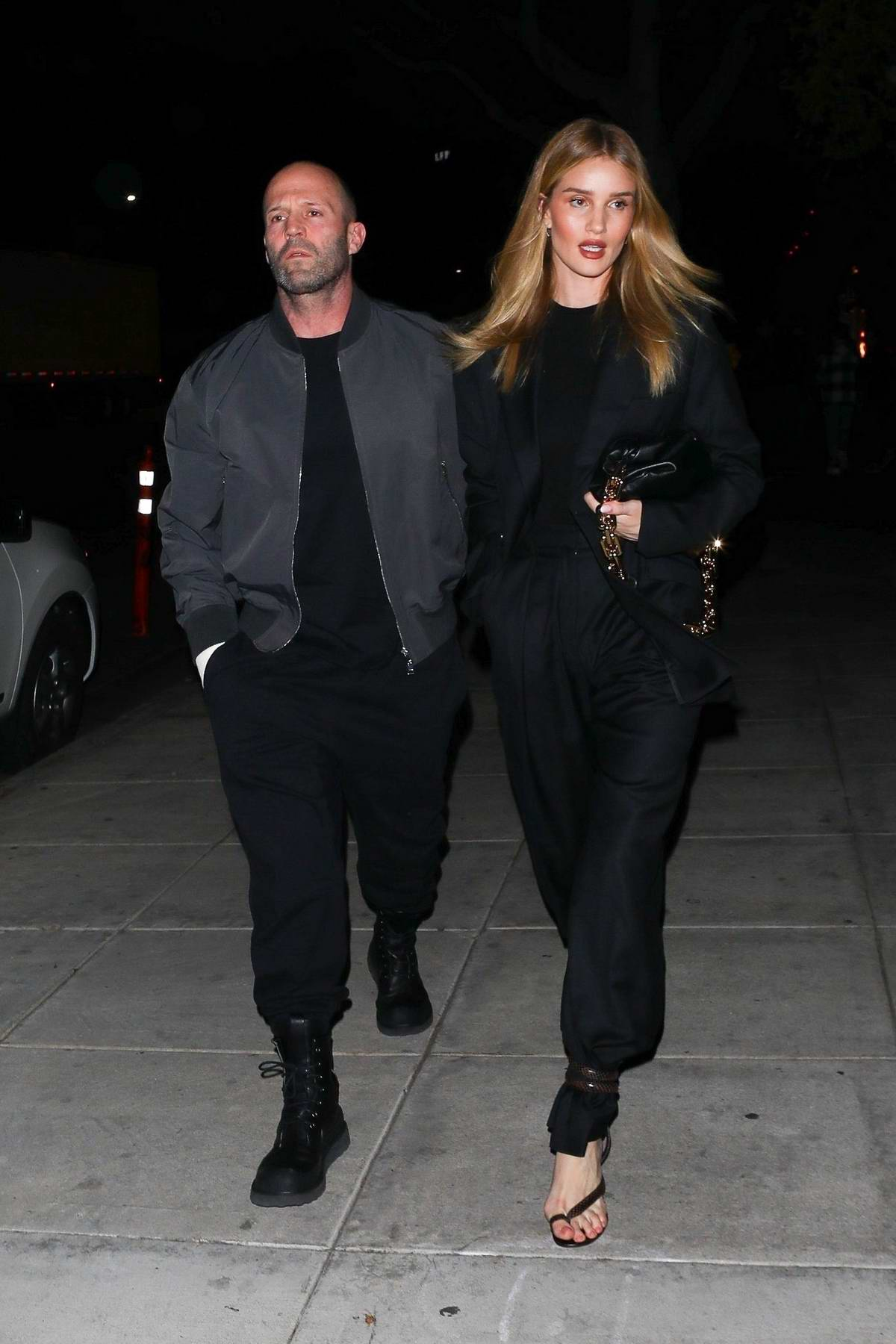 Rosie Huntington-Whiteley and Jason Statham arrive for a late date-night dinner at Matsuhisa in Beverly Hills, California