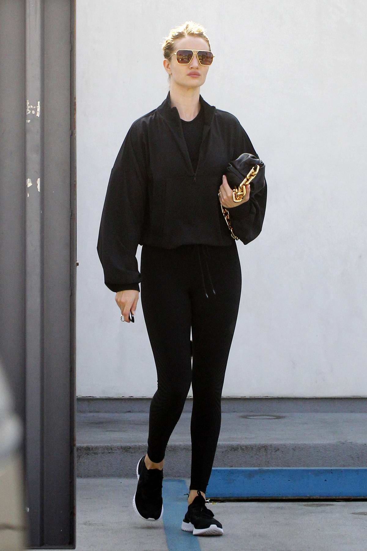 Rosie Huntington-Whiteley dons all-black athleisure as she leaves the gym after workout in Los Angeles