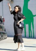 Rumer Willis looks great in black dress while shopping at Healthy Spot pet supply in Los Angeles