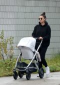 Shay Mitchell and boyfriend Matte Babel enjoy a stroll with their baby in Los Angeles