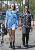 Sophie Turner looks radiant in a short blue dress while out with Joe Jonas in Los Feliz, California