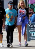 Sophie Turner shows off her long legs in shorts while out for lunch with Joe Jonas in Studio City, California