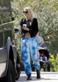Stella Maxwell dons a black jacket and blue tie-dye sweatpants while out for a coffee in Los Angeles