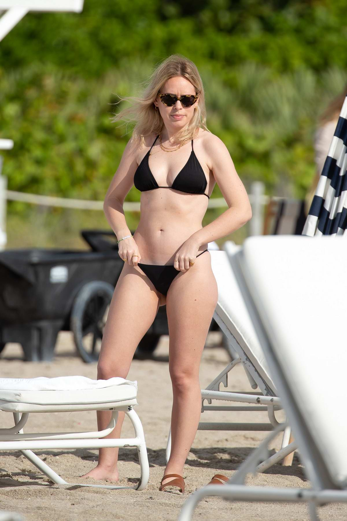 Tanya Burr shows off her bikini body on the beach in Miami, Florida