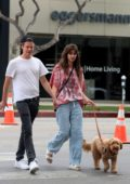 Taylor Hill holds hands with new boyfriend Daniel Fryer while walking her dog in West Hollywood, California