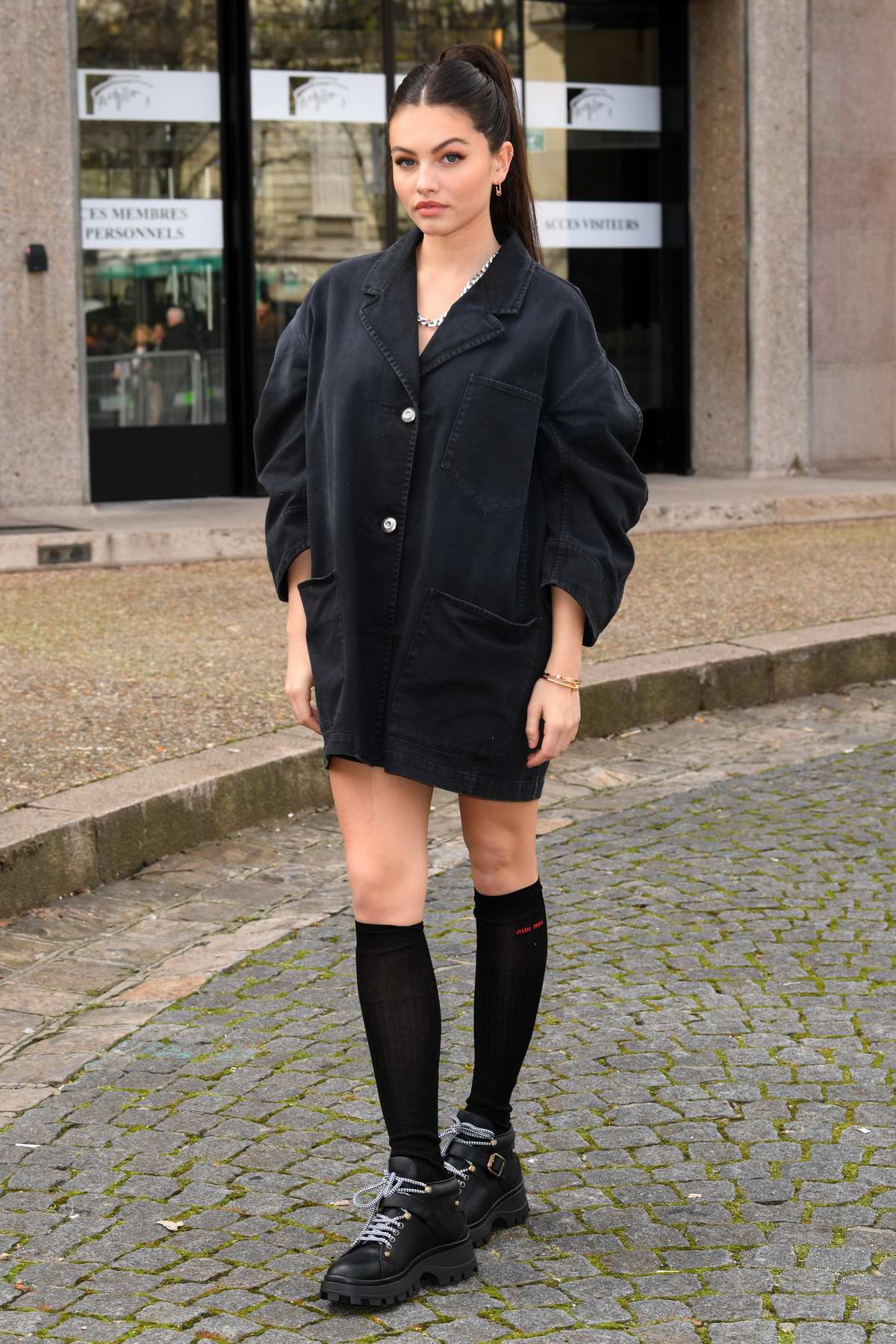Thylane Blondeau attends the Miu Miu fashion show, F/W 2020 during Paris Fashion Week in Paris, France