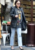 Vanessa Hudgens dons a vintage 'Janet Jackson' tee and black leather jacket while leaving breakfast in Los Feliz, California